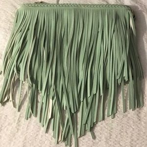 Faux leather fringe clutch.